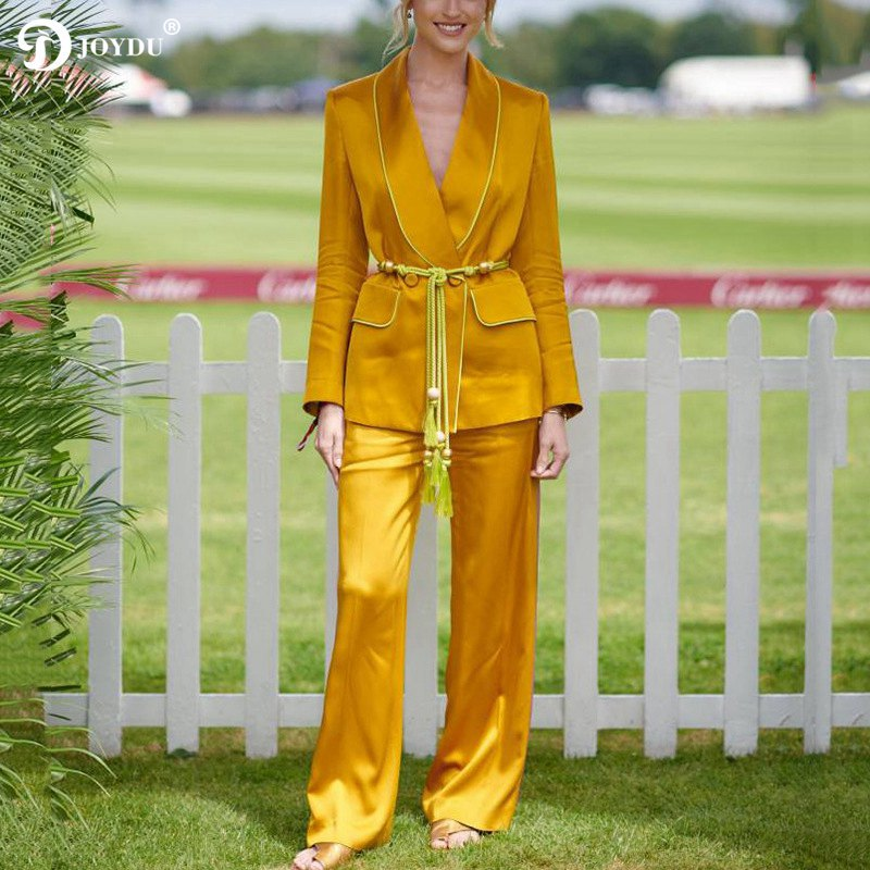 JOYDU Runway Design Two Piece Set Women Tracksuit 2019 Elegant Satin Silk Blazer Pants Suit Lace Up Belt Outfit Fashion Twinset