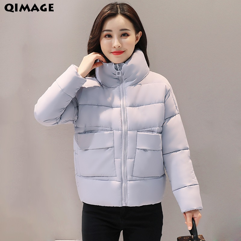 QIMAGE 2017 Solid Color Winter Coats Women Bat Sleeved Short Parka Thick Warm Cotton Padded Coat Winter Outwear Ladies Jacket