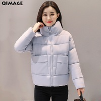 QIMAGE 2017 Solid Color Winter Coats Women Bat Sleeved Short Parka Thick Warm Cotton Padded Coat