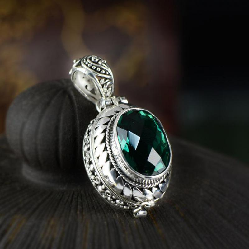 925 Sterling Silver Kwu Box Natural Green Crystal Pendant Openable Vintage Retro Wind Gemston Stone Pendant