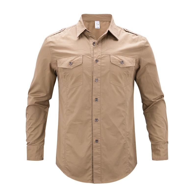 Tactical Cargo Shirts Men Fashion Brand Casual Shirt Army Military Shirt Clothes Plus Size Clothes 4XL 5XL Khaki Blue
