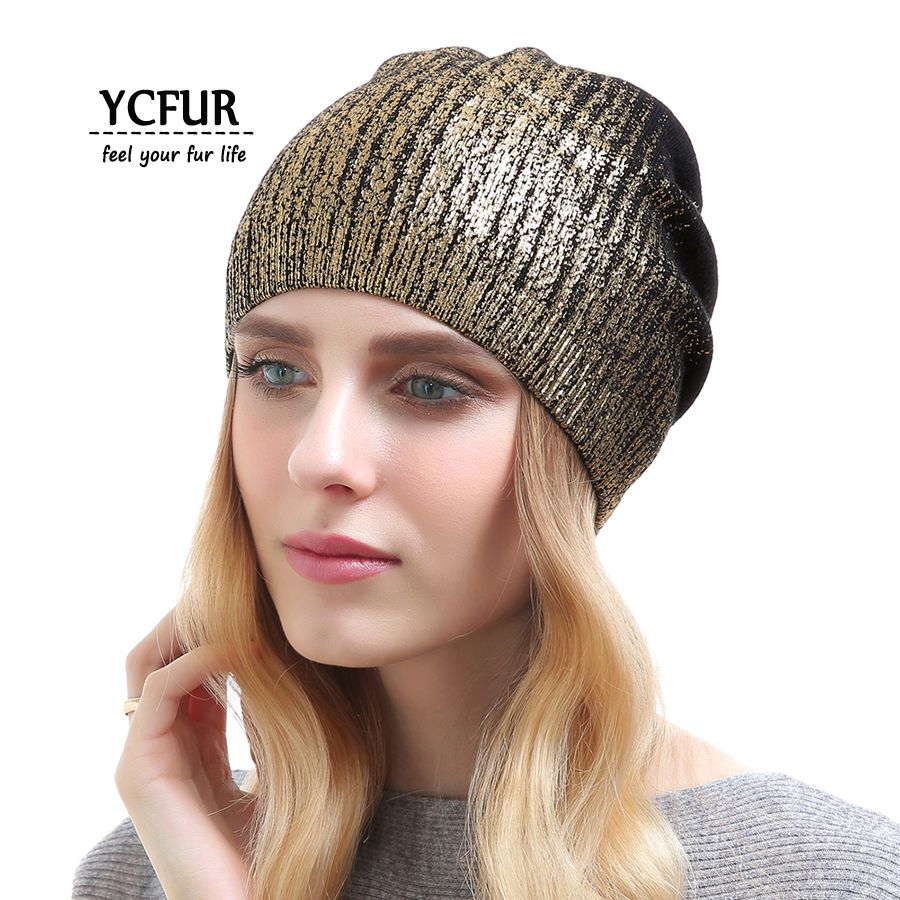 YCFUR Fashion Women Cashmere Hats Beanies Spring Autumn Winter Knit Cotton Wool Caps Hats Girls Soft Winter Beanies Skullies