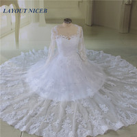 Lace Ball Gown Wedding Dresses 2017 Long Sleeves Floor Length Brisal Gowns See Through Back Vestido