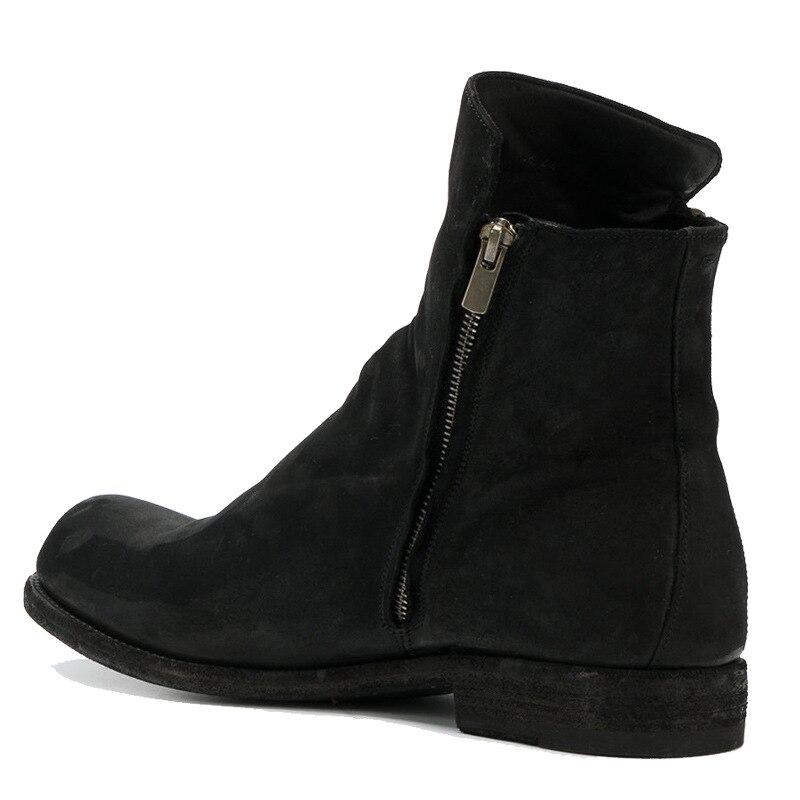 Version De Automne Européenne Rétro Bottes Zipper Chaussures Respirant Pour D'équitation Cuir Hiver Britannique Hommes En Basses Noir cLq54Aj3R