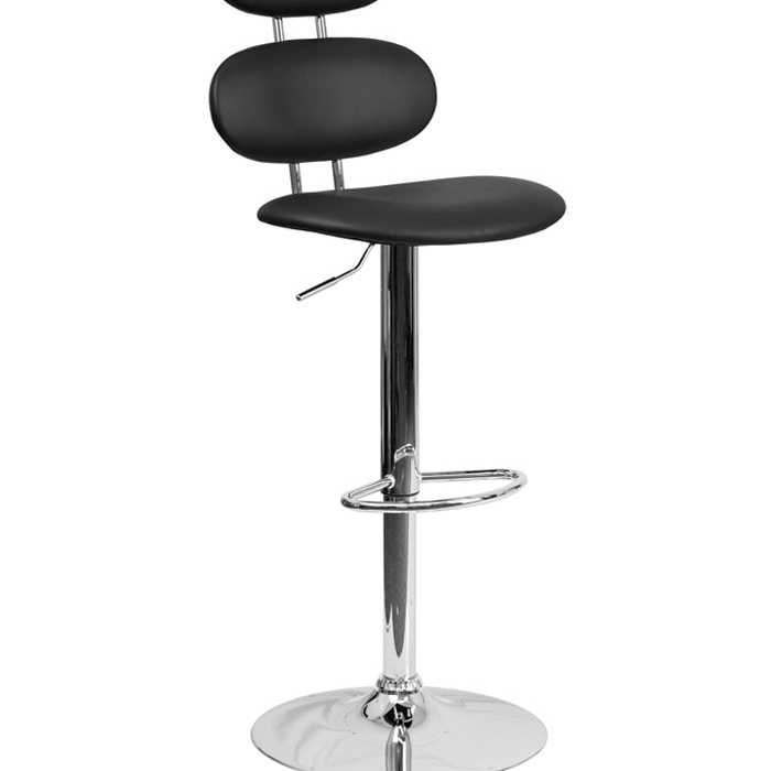 Flash Furniture Contemporary Black Vinyl Adjustable Height Barstool Footrest with Chrome Base
