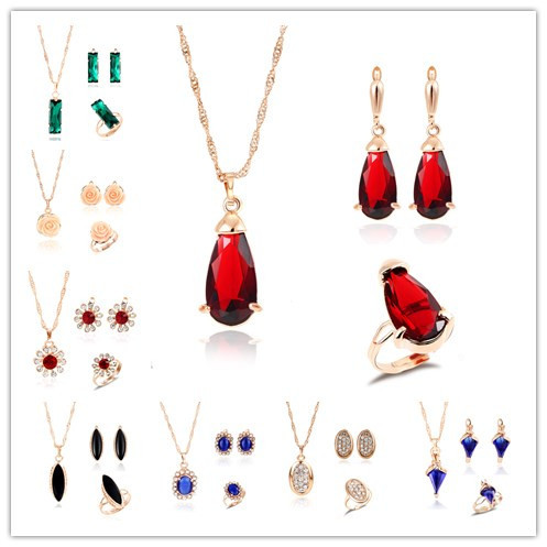 Colorful Crystal Pendant Jewelry Set Hot Selling Summer Wedding Costume Necklace