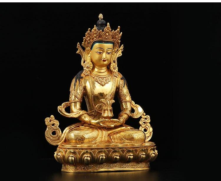 2019 nouveau-33 CM grande maison famille efficace Talisman bouddhisme thaïlande népal pleine dorure plaqué or Amitayus bouddha statue