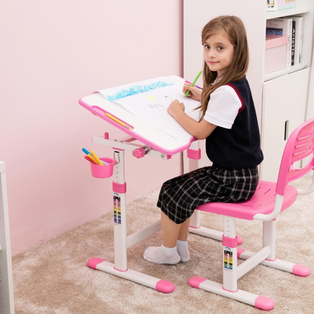 ed5d6e050142 IKayaa altura ajustable chico estudio Silla de escritorio conjunto  inclinable niños actividad arte mesa de estación de trabajo de marco de  Metal en Sets de ...