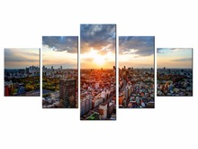 Hot Sales Framed 5 Panels Picture Beautiful city landscape HD Canvas Print Painting Artwork Wall Art painting Wholesale