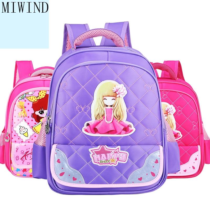 MIWIND Girl School Bags PU Leather Bag Children Schoolbag 1 - 3 Grade Primary Bookbag Orthopedic Princess Schoolbags TMT968