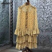 Long Sleeve Dress 2019 Autumn Fashion Casual Dress High Quality Women Elegant Flower Print Cascading Ruffle Silk Dress Yellow