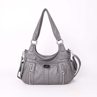 Fashion Designer Luxury Handbags Purses High Quality Washed PU Leather Hobos Style Shoulder Bags for Ladies