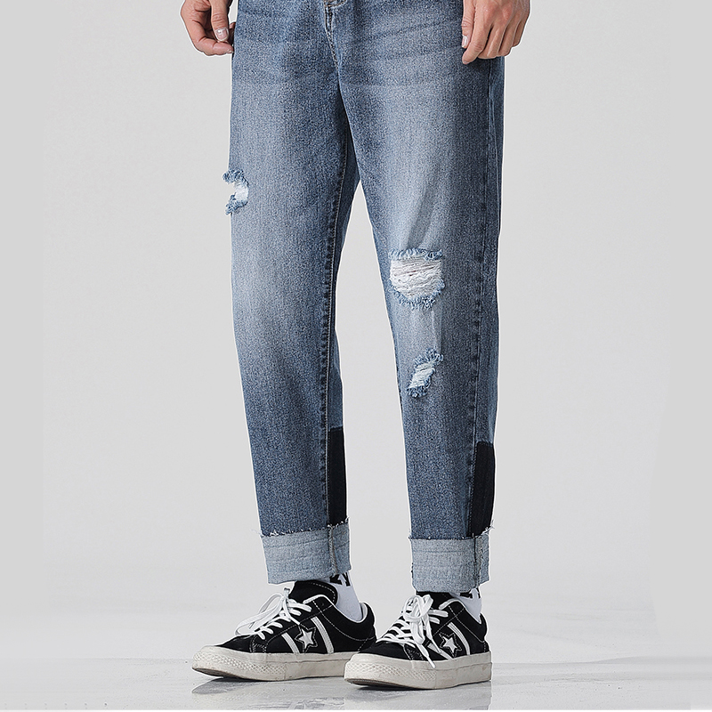 2019 New Men Skinny Jeans Skinny Slim Fit Stretchy Blue Jeans Cotton Lightweight Comfy Hip Hop