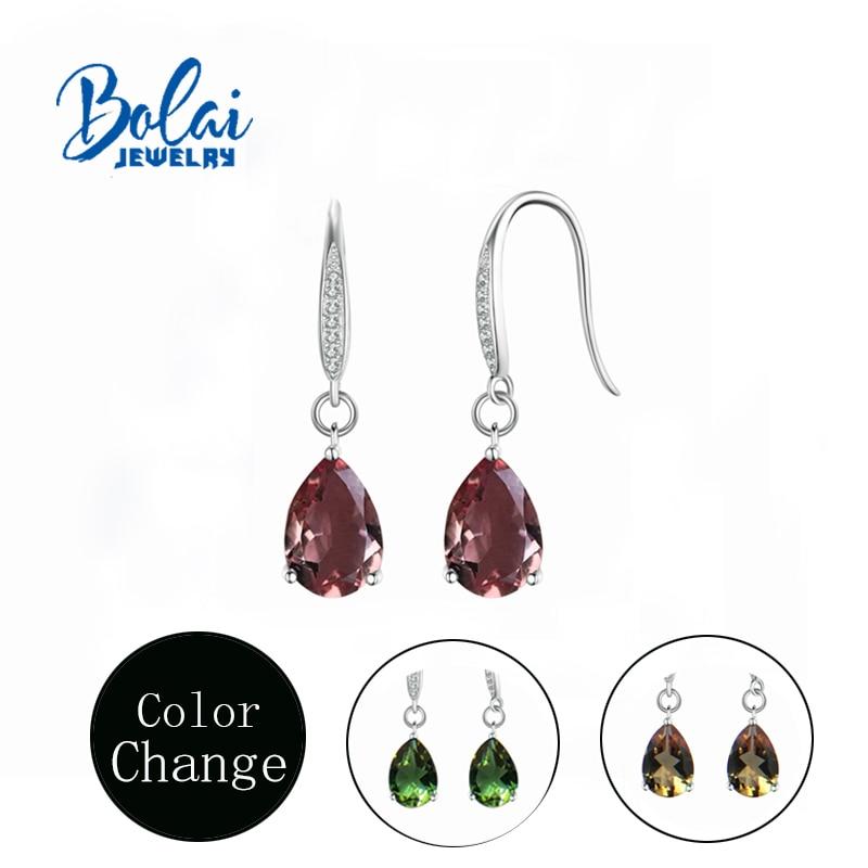 Bolaijewelry,Zultanite Earring 925 Sterling Silver Water Drop Style  Women Created Color Change Gemstone Fine Jewelry Top Gift