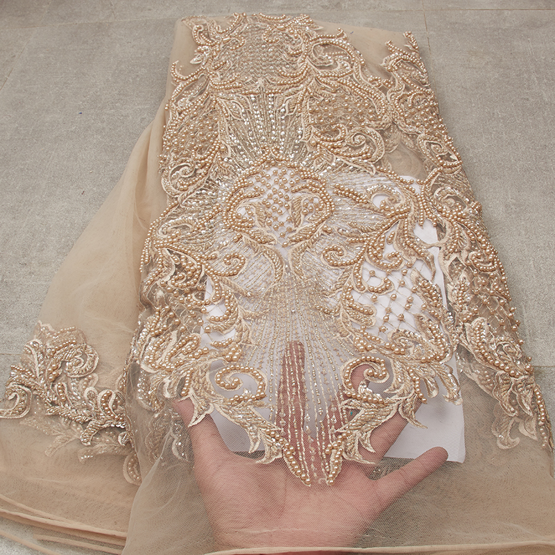 African Lace Fabric 2019 High Quality Lace Embroidery Lace Gold Handmade Beads Lace Fabric MR2565B