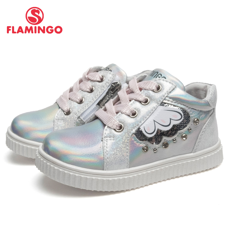 FLAMINGO Brand Breathable Arch Hook& Loop TPR Children Walking Shoes Leather Size 22-27 Kids Sneaker for Girl 91P-XY-1445 flamingo winter anti slip waterproof wool warm high quality kids shoes orthotic arch size 23 28 snow boots for girl 82m qk 0946