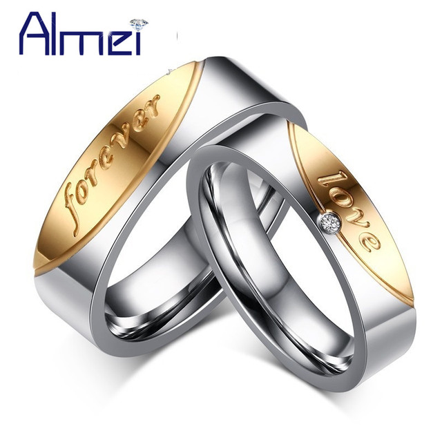 1 Pair Gift Rings for Men Women Love Forever Couple Ring of Steel Cubic Zirconia Wedding Jewelry Anneau Nuevos Anillos 10% CR058