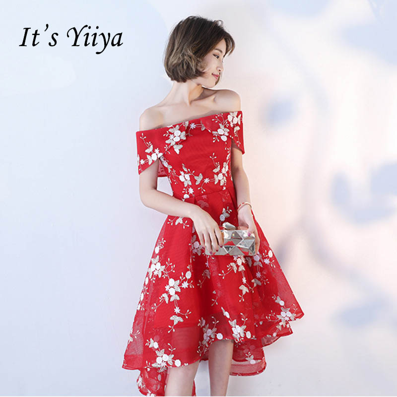 It's YiiYa Sexy Off The Shoulder Backless Embroidery   Prom     Dresses   Red Luxury Tea Length Asymmetrical   Dress   LX120