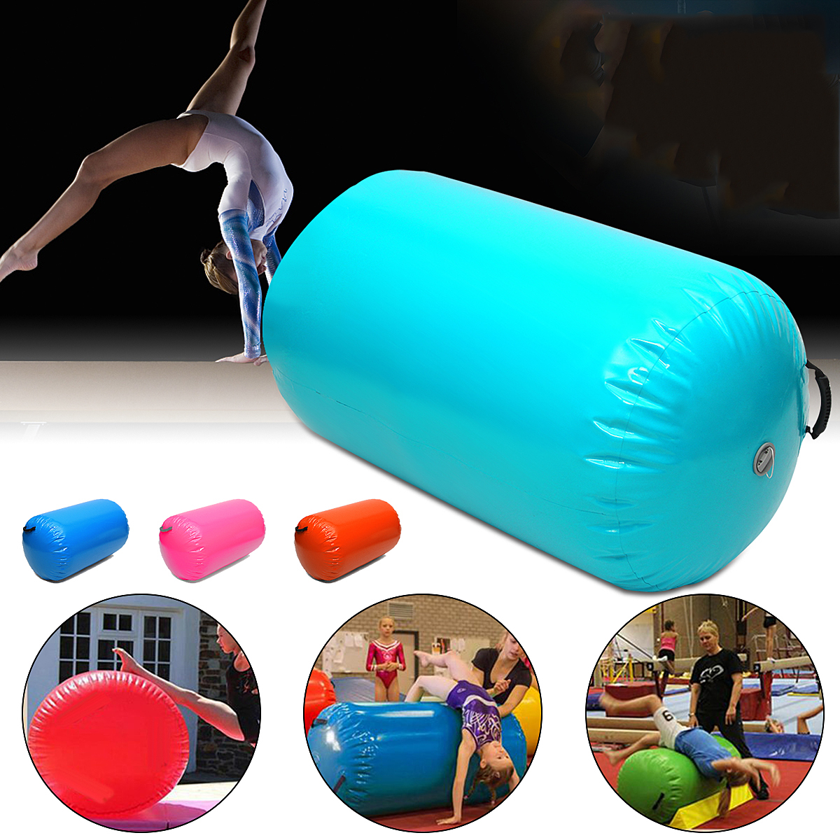 35.49x41.39inch 105x90cm Inflatable Gymnastic Air Rolls Beam Yoga Gymnastics Cylinder Airtrack Exercise