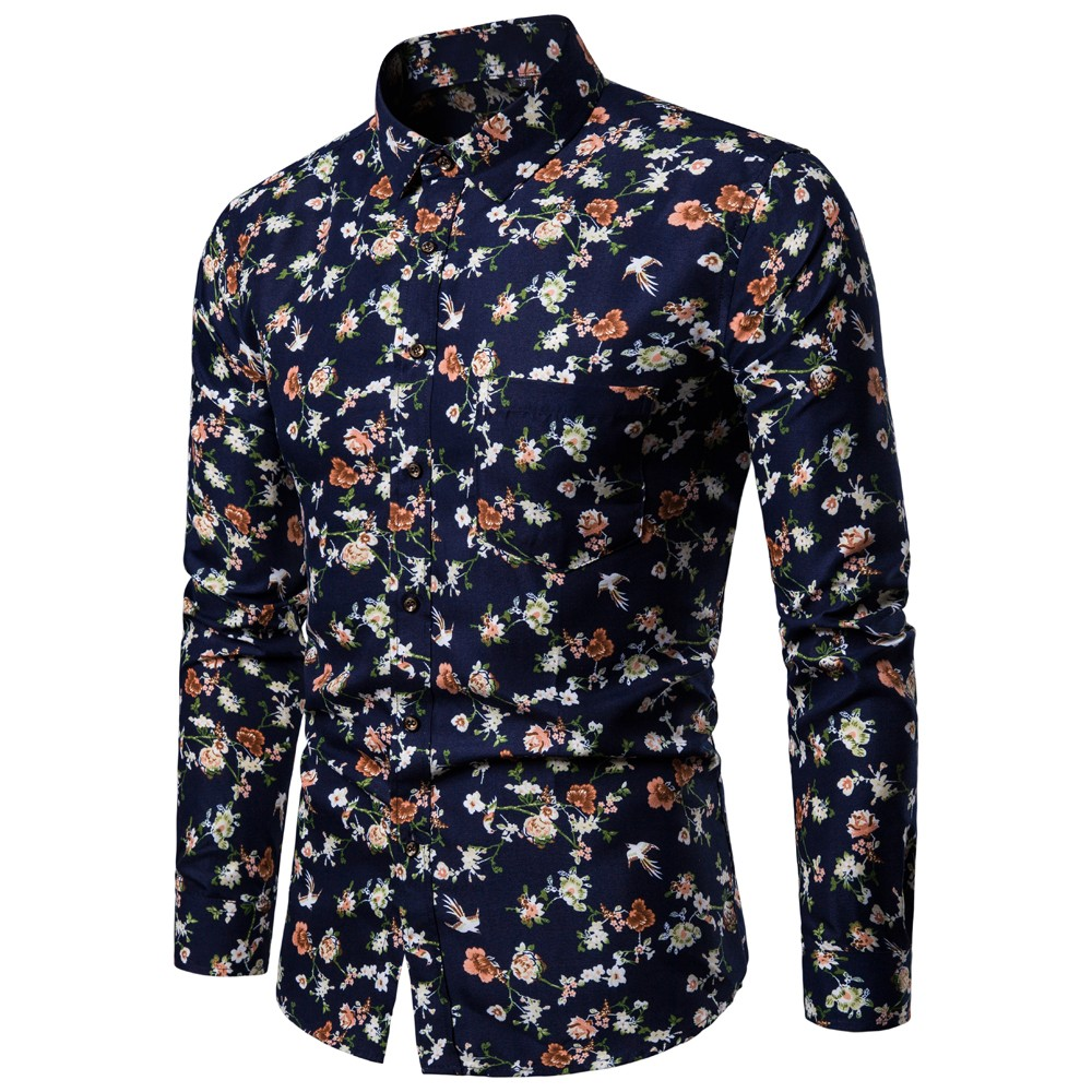 Hot Sale Fashion Design High Quality Standard Size Men's Polyester Digital Broken Flower LStylish Long Sleeved Shirt New