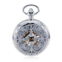 Silver Tone Case Metal Hand Winding Mechanical Pocket Watch Hollow Beautiful Chinese Knot Style Steampunk Pendant with Fob Chian