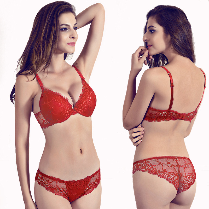 Gather underwear women   set   cotton thick red brassiere lace Sexy   Bra     set   Plus Size C D Cup Push Up   bra   And Panties   Set   Lingerie