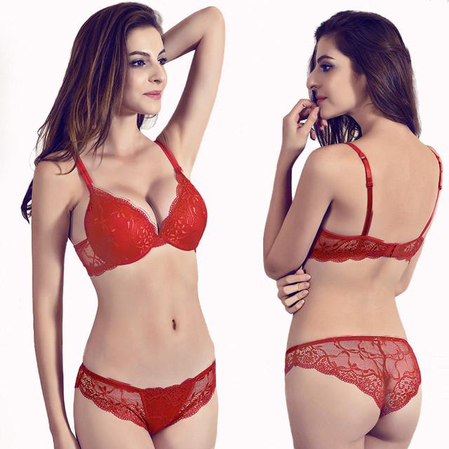 Sexy Bra set Plus Size C D Cup Push Up bra And Panties Set Lingerie