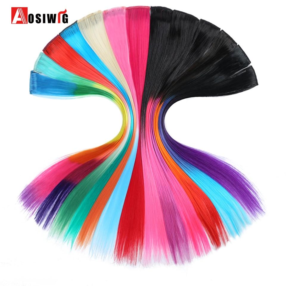 AOSIWIG Kırmızı Pembe Mor 19 Renkler 1 Klip-In Saf Renk Uzun Düz - Sentetik Saç - Fotoğraf 1