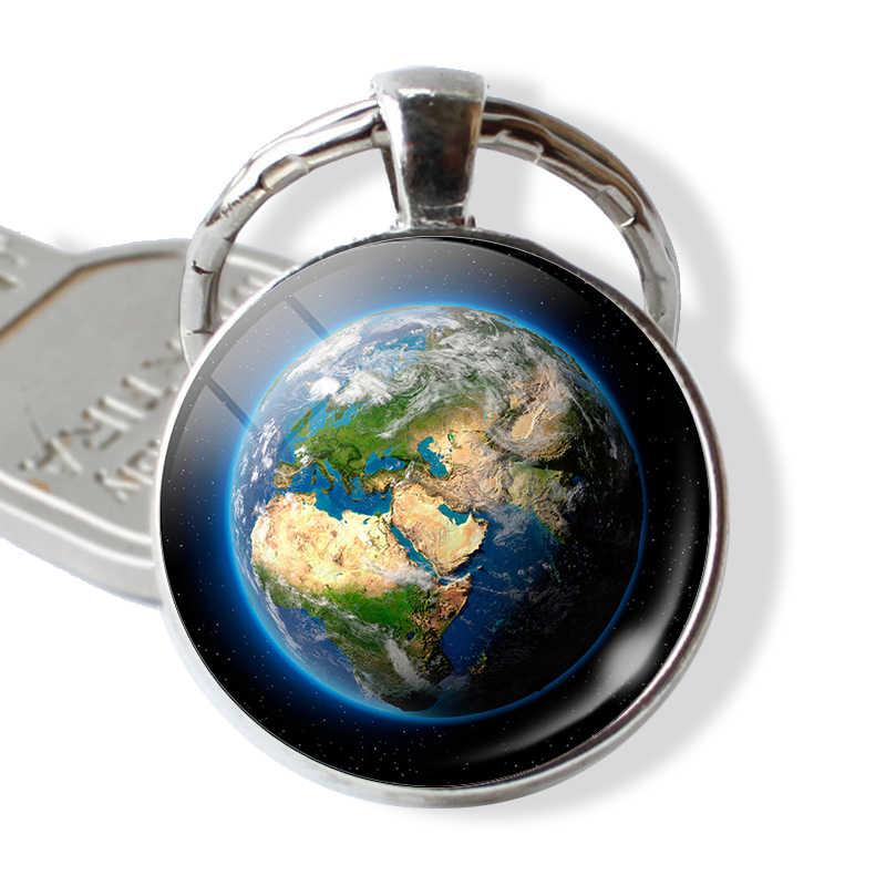 Trái đất Hành Tinh Bản Đồ Toàn Cầu Thủy Tinh Cabochon Mặt Dây Chuyền Kim Loại Keyring Keychain Bạc Móc Chìa Khóa Thời Trang Đồ Trang Sức Phụ Kiện