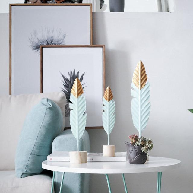 Modern Wooden Feather Figurine