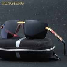 HONGTENG Men's Aluminum Magnesium Alloy Polarized Sunglasses Men Square Vintage Male Sun glasses Eyewear Accessories Google