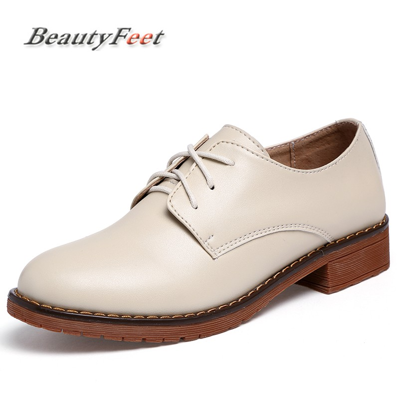 BeautyFeet Pu Leather Oxford Shoes Women Flats Fashion Women Shoes Casual Moccasins Loafers Ladies Shoes Zapatos Mujer women ladies flats vintage pu leather loafers pointed toe silver metal design
