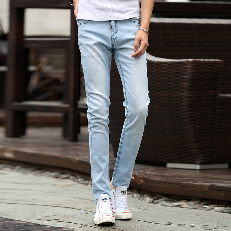 Teenage elastic skinny jeans pants male popular light blue Denim  pants(China (Mainland) - Compare Prices On Light Blue Skinny Jeans Men- Online Shopping/Buy