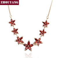 ZHOUYANG ZYN023 Summer Red 7 Flower Rose Gold Color Fashion Pendant Jewelry Made with Austria Crystal Wholesale