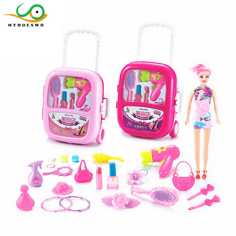 MYHOESWD Travel Suitcase Toys for Kids Makeup for Girls Cosplay Props  Pretend Play Toys Make-up Classic Children's Toy Christmas