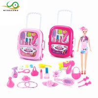MYHOESWD Travel Suitcase Toys for Kids Makeup for Girls Cosplay Props Pretend Play Toys Make up Classic Children's Toy Christmas