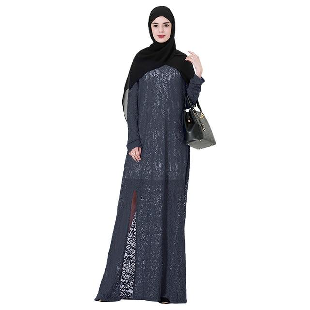 731616550a7 Babalet Womens  Elegant Modest Muslim Islamic Dubai Jilbab ArabO-Neck Long  Sleeve Full Lace Split Long Abaya Dress EID Ramadan