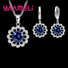 New Real Solid 925 Sterling Silver Flower Clear Cubic Zirconia Pendant Necklace Earrings Crystal Jewelry Sets For Women(China)