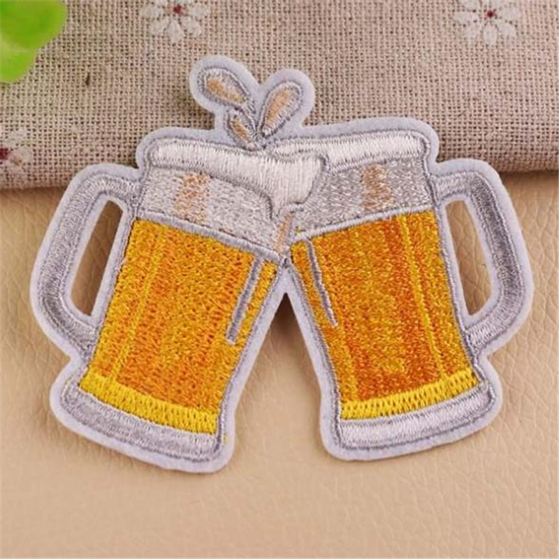 Clothing girls diy embroidery beer badge iron on patch deal with it biker patches for clothes stickers fabric free shipping