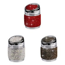 Car Ashtray Rhinestone Cigarette Smoke Travel Stainless Steel Holder for Auto Home Office