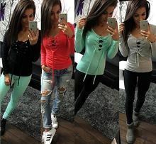 2016 New Fashion Sexy Womens Long Sleeve Lace Up Shirt Sexy Bandage Femme Tops In Five Colors LX068