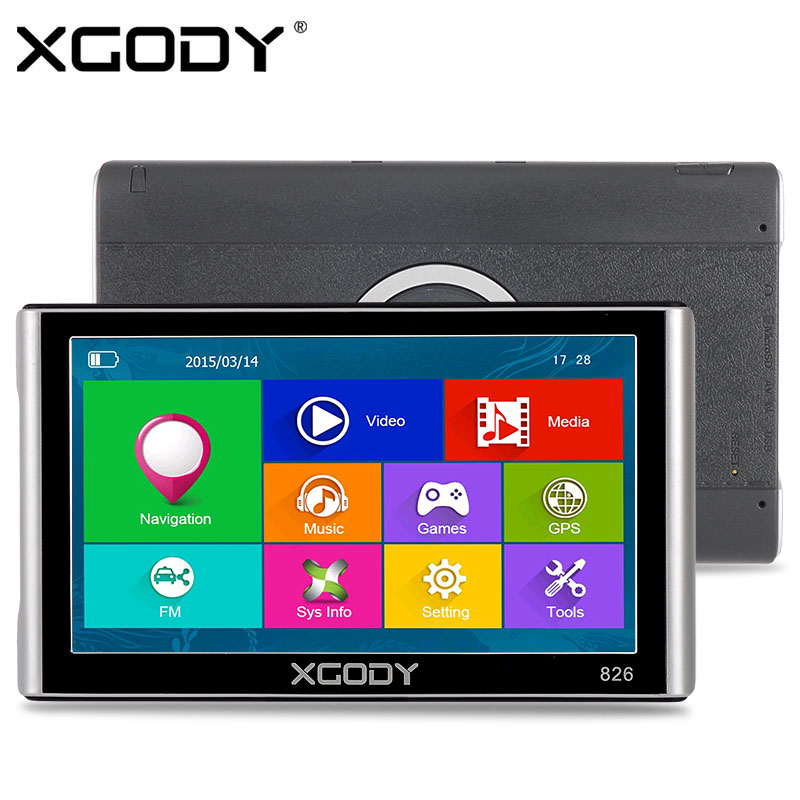 XGODY 826 7 inch Car Truck GPS Navigation 256M 8GB Capacitive Screen Bluetooth AV-IN FM 2016 Europe Russia Navitel Free Maps aw715 7 0 inch resistive screen mt3351 128mb 4gb car gps navigation fm ebook multimedia bluetooth av europe map