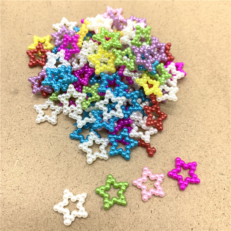 100pcs/lot 10mm Acrylic Beads Star Shape Beads Imitation Pearls Flatback For Art Scrapbooking DIY Scrapbook Decoration