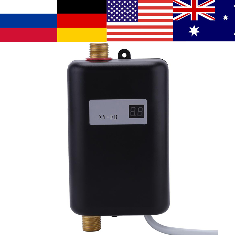 Hot-Water Black Kitchen Electric 220V 3400W Bathroom Tankless Washing Instant Mini