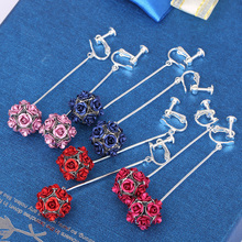 2017 Korea Style Fashion Rose Flower Ball Shape Clip on Earrings Wihtout Piercig for Women Party Wedding Long Pierced Earrings