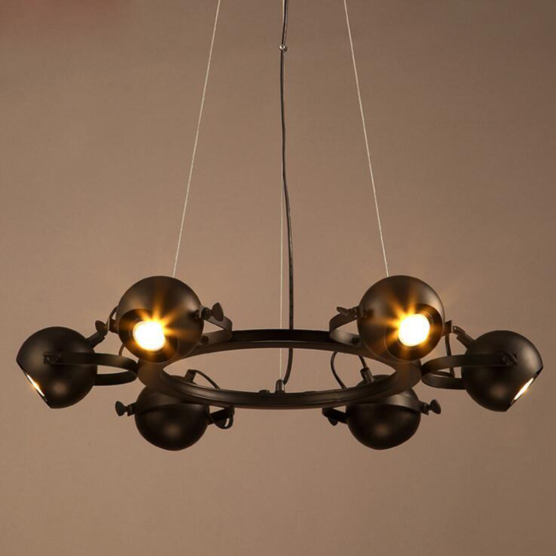 Creative Personality Dining Room Chandelier Retro Industrial Style Wrought  Iron Chandelier Europe And The United States Hall LED