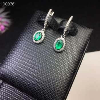 KJJEAXCMY fine jewelry 925 pure silver inlaid natural emerald Earrings support test - DISCOUNT ITEM  12% OFF All Category