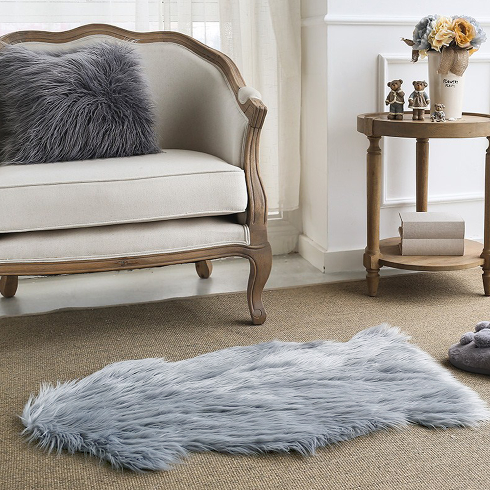 yazi lana artificial alfombra de piel de oveja faux alfombra del dormitorio silla asiento pad llanura