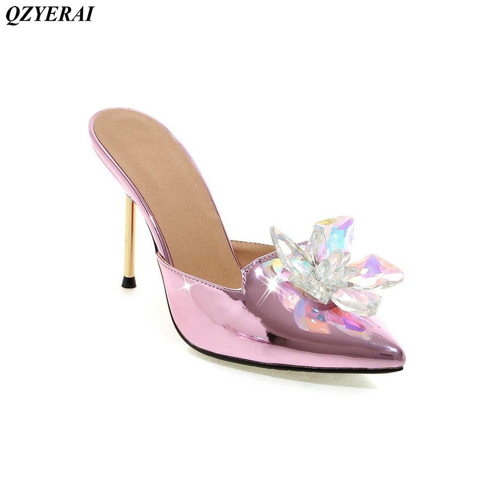 Été été nouveauté talons hauts en cristal avec des chaussures pour femmes pointu pantoufles chaussures pour femmes sexy pantoufles chaussures simples