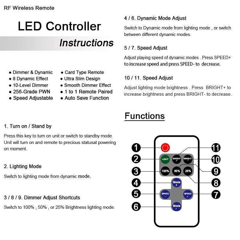 Brezplačna dostava 12A 5V-24V LED RF brezžični daljinski regulator - Pribor za razsvetljavo - Fotografija 5